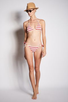 Triangle bikini with white and red wide stripes