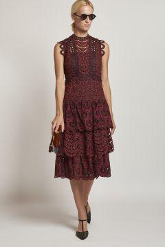 macramé longuette bordeaux dress