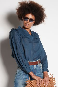 Blue shirt with plastron