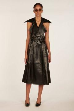 Black long vest-dress in faux leather