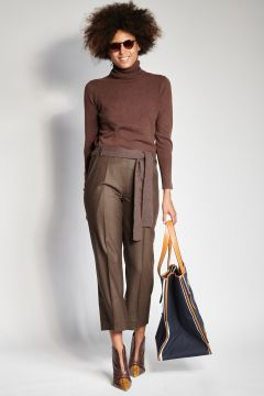 Brown flannel trousers with elastic
