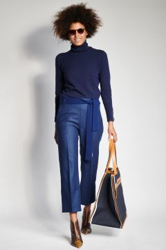 Blue flannel trousers with elastic