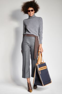 Gray flannel trousers with elastic