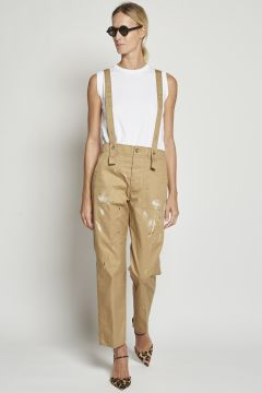 Beige dungarees with color spots