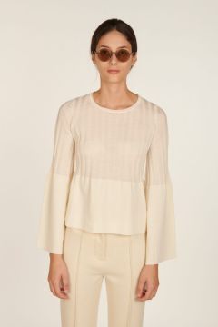 Giselle white ribbed sweater