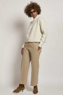 beige men's cut trousers