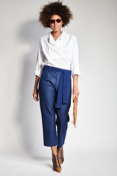 Blue flannel trousers with pockets