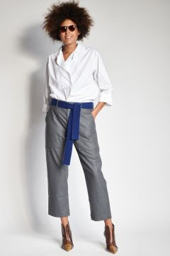 Gray flannel trousers with pockets