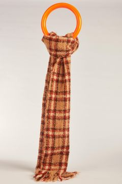 Double checked beige scarf