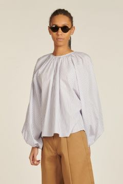 Oversized shirt with white and blue stripes