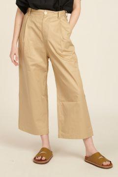 Wide leg beige trousers