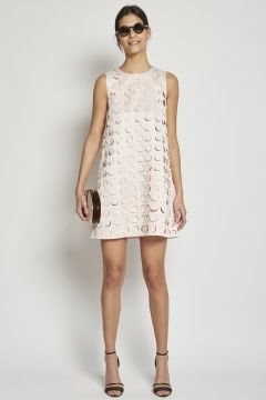 mini dress with laser-cut circles
