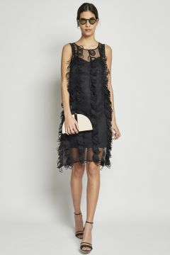 short double dress with fringes embroidery