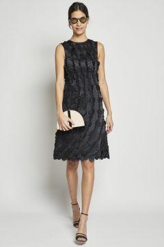 short dress with laser-cut circles