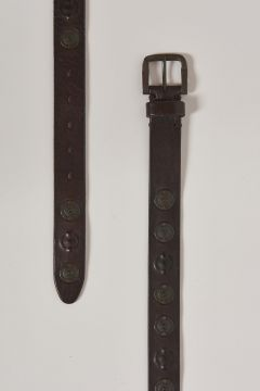leather belt with big metal eyelets