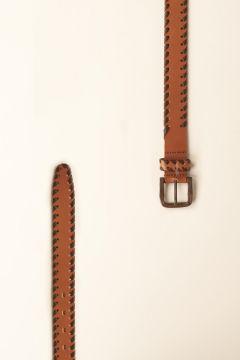 Beige belt with contrasting dark brown weave