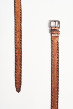 Cintura in pelle con bordo intrecciato
