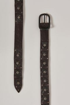 brown leather belt with round metal inserts