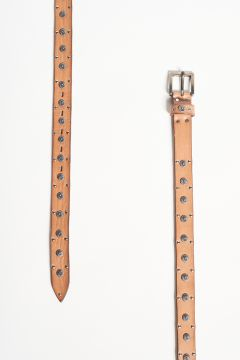Leather belt with metal flowers