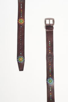 Leather belt with decorative beads