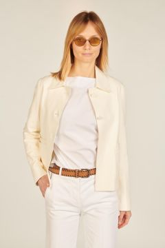 Ivory short leather jacket