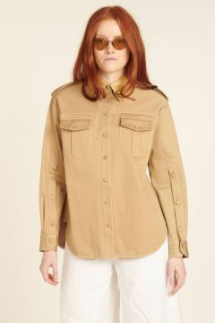 Beige cotton shirt with pockets