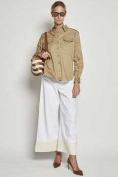 White cropped denim trousers