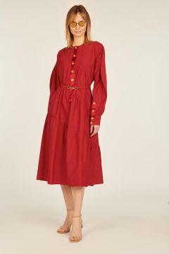 Red long sleeved dress