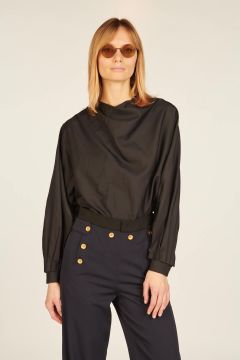 Black silk long-sleeved shirt