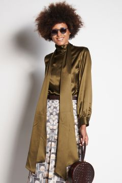 Olive silk shirt with scarf