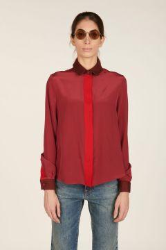 Burgundy silk shirt