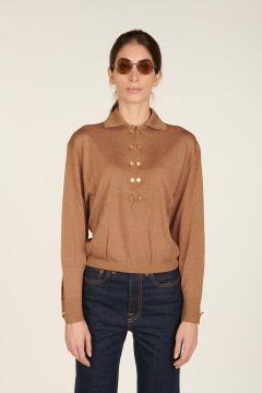 Camel long-sleeve polo top
