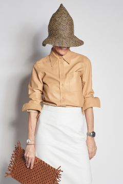 Beige leather shirt