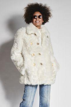 White double-breasted sheepskin jacket