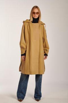 Camel hooded parka