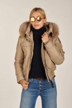 Gobi padded beige bomber jacket