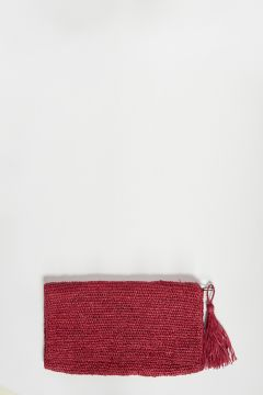 Red raffia clutch bag with zip