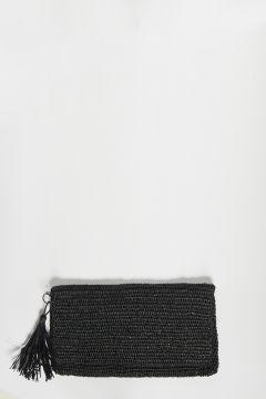 Black raffia clutch bag with zip