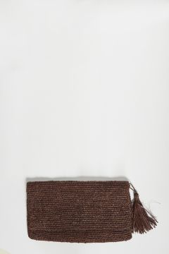 Brown raffia clutch bag with zip