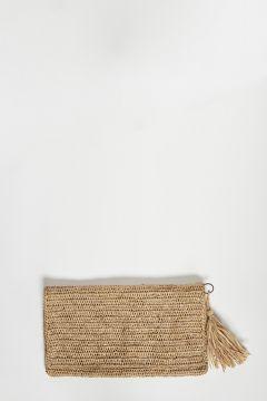 Tea raffia clutch bag with zip