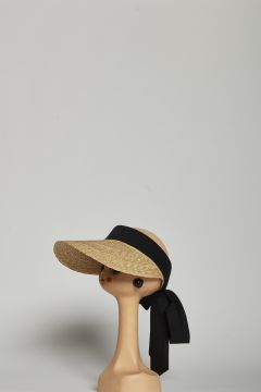 Straw visor with black cotton laces
