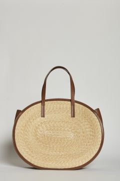Large straw bag with leather edge