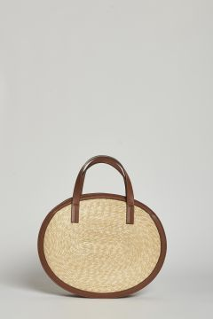 Medium straw bag with leather edge