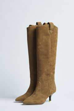 beige suede high boot with heel
