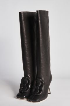Black leather boots with detail