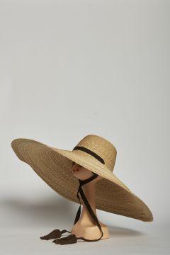 Straw hat with wide brim