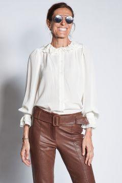Silk shirt with ruffles