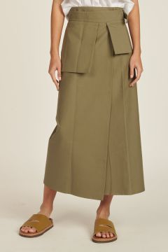 long green skirt with pocket