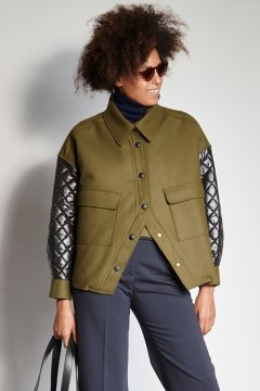 Green and black jacket with padded sleeves