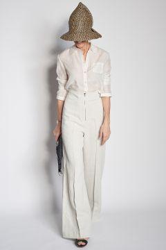 Pantaloni con zip in lino
